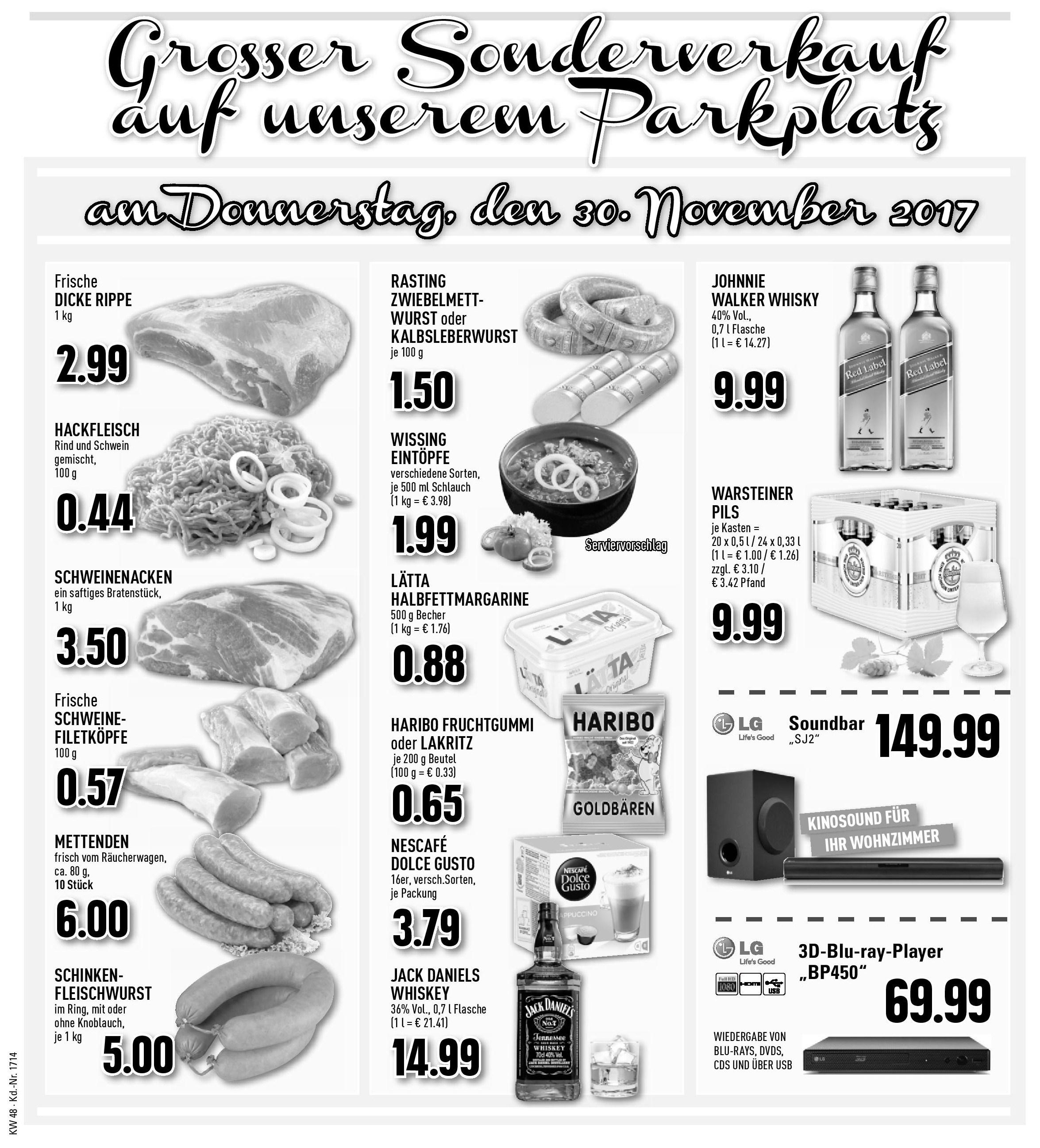 Großer Sonderverkauf am Donnerstag, 30.11.2017