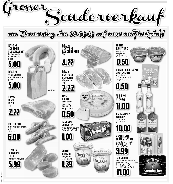 Großer Sonderverkauf am Donnerstag, 30.08.2018