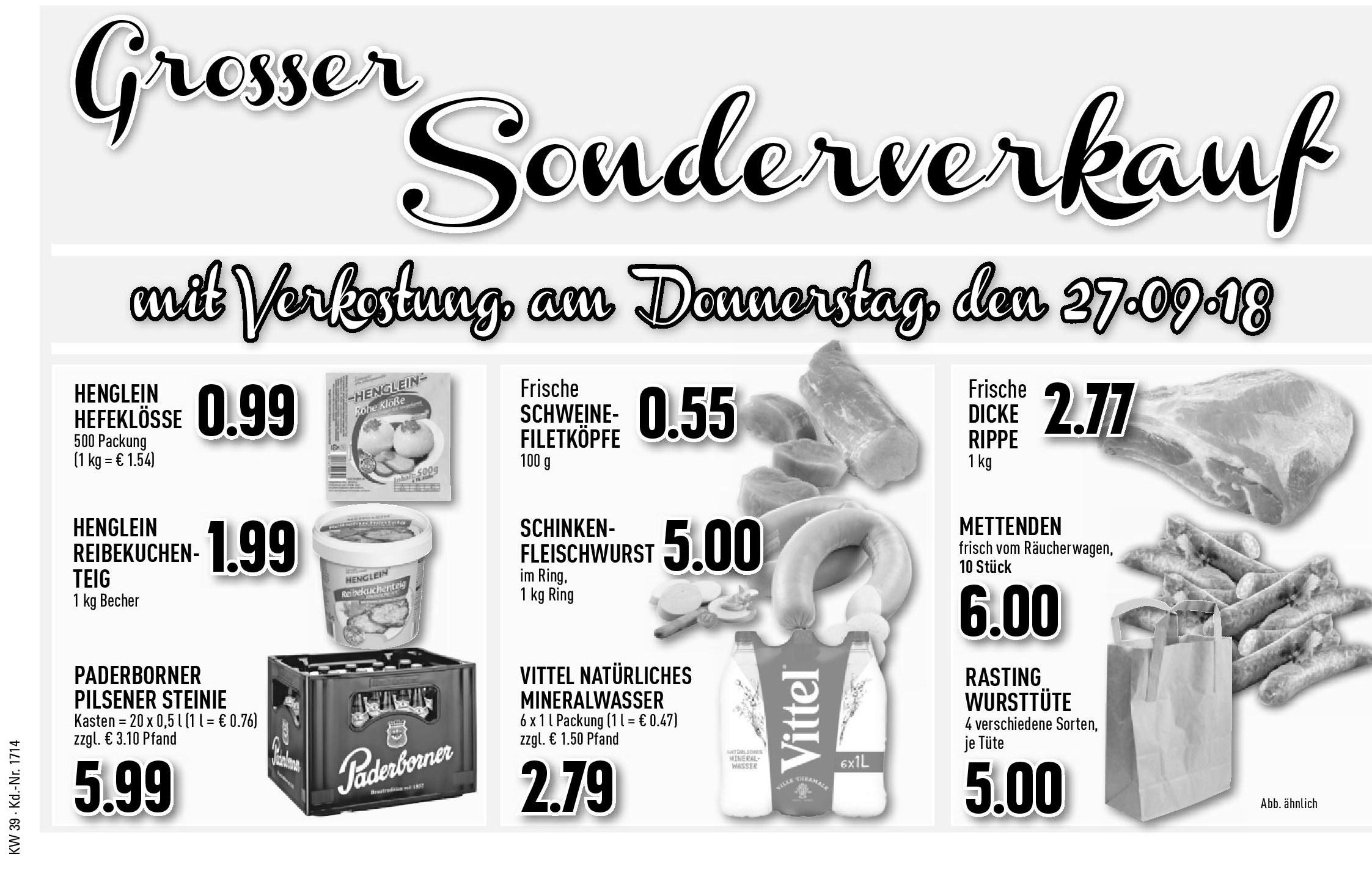 Sonderverkauf am Donnerstag, 27.09.2018