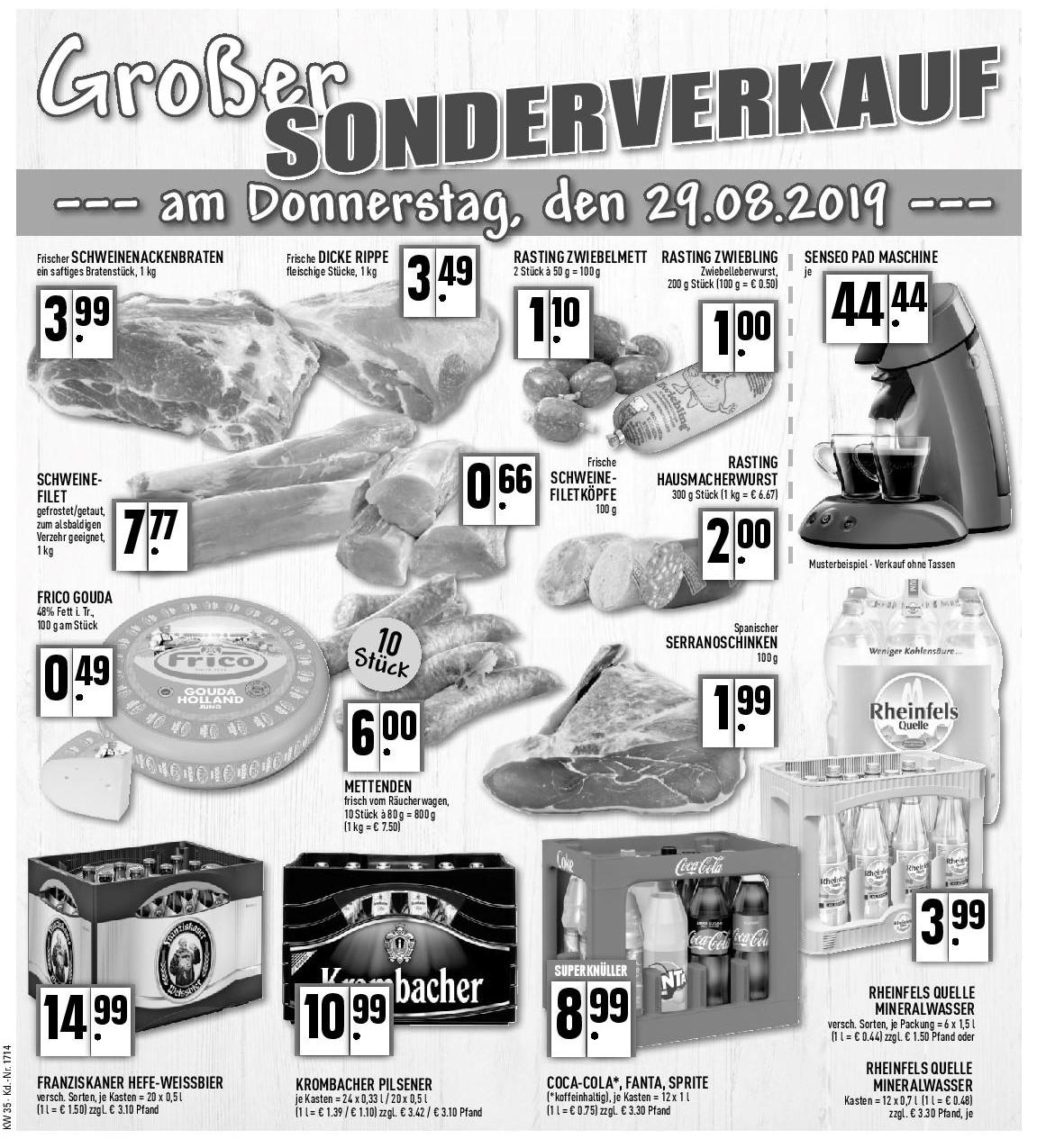 Großer Sonderverkauf am Donnerstag, 29.08.2019
